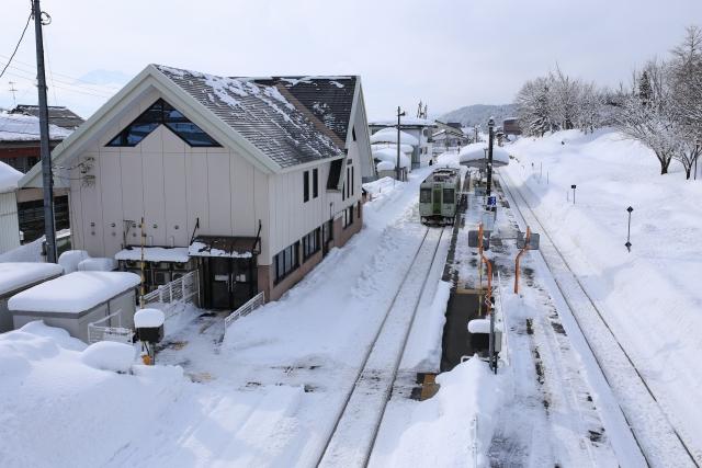 【2018/1/5撮影】西口の歩道橋から駅舎を見下ろす。