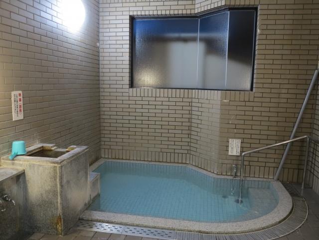 正面湯の湯船。熱い湯掛け流しです。入浴料200円の無人の料金箱あり。