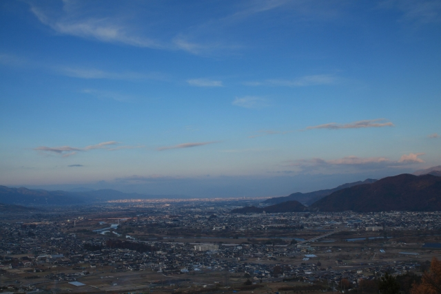 姨捨山から観る長野市街地