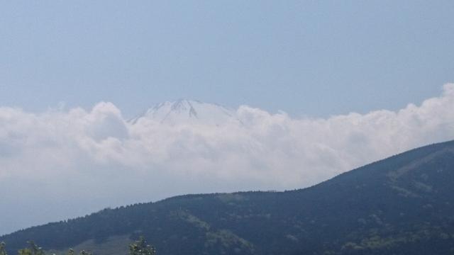墓地から見える山々