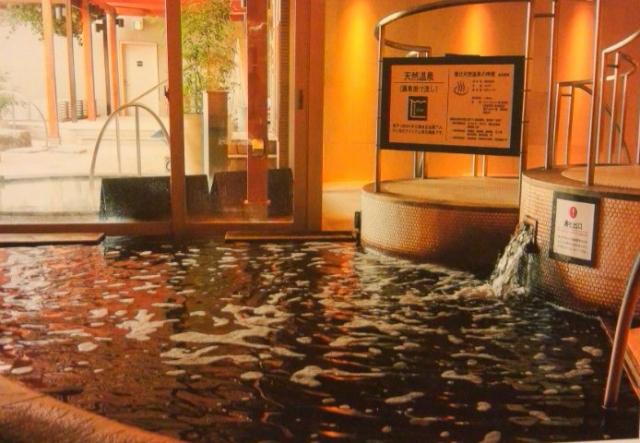女湯の源泉掛け流し浴槽(館内写真より)