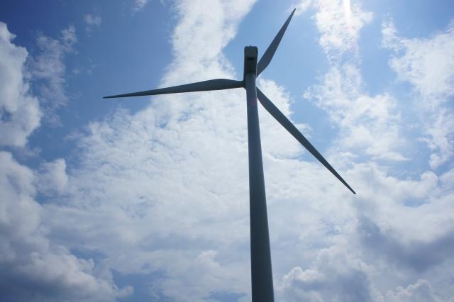 風車を下から眺める。大きいです・・・