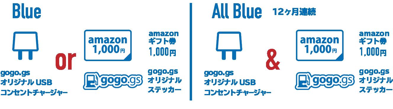 Blue Memberプレゼント内容:             gogo.gsオリジナルUSBコンセントチャージャーもしくは、             Amazonギフト券千円・             gogo.gsオリジナルステッカー             (12ヶ月連続の方は全て)