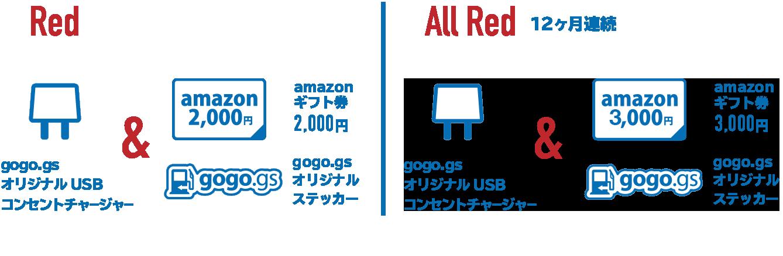 Red Memberプレゼント内容:           gogo.gsオリジナルUSBコンセントチャージャー &           Amazonギフト券2千円・           gogo.gsオリジナルステッカー